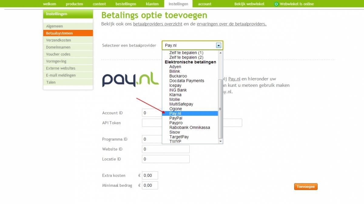 Toevoegen Pay.nl, stap 1